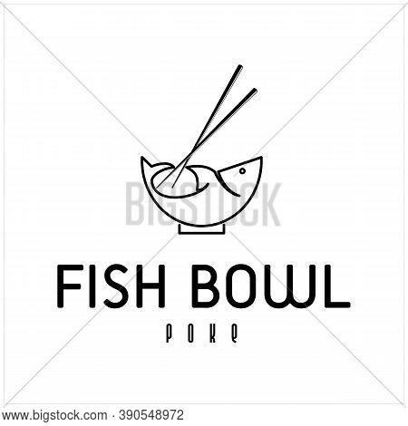 Chopstick Swoosh Fish Bowl Oriental Japan Cuisine, Japanese Poke Sushi Seafood Logo Design Inspirati