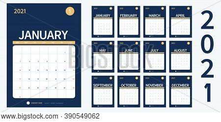 Vector Calendar 2021 New Year Planner Set 12 Month In Clean Minimal Table Simple Design Style And Na