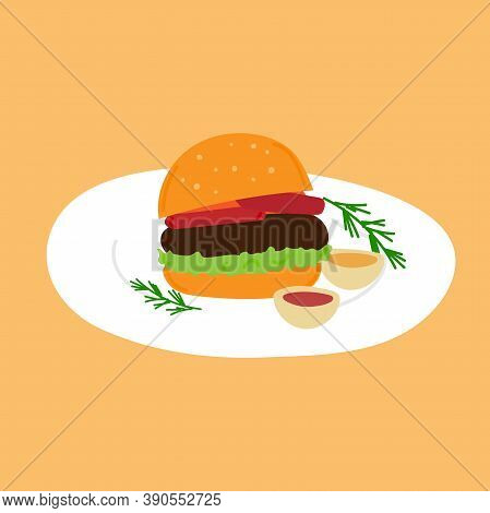 Hamburger With Beef Cutlet, Leaf Salad, Tomatoes And Cheese. On The Plate There Is A Burger With Two