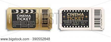 Cinema Ticket To Movie Set. Old Retro Vintage Entry Coupons. Film Theater Industry Concept Vector Il
