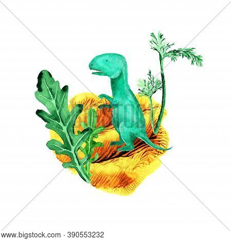 Prehistoric Scene With Dinosaur And Plants. Cartoon Dinol Against The Ancient Landscape