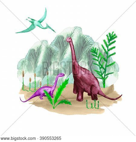 Prehistoric Scene With Dinosaurs And Plants. Cartoon Dinos And Pterodactyl Against The Ancient Lands