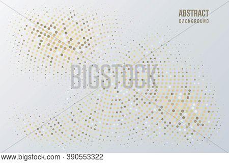 Abstract Halftone Circular Background. Gold, Grey, Amber And Black Dot Pattern. Bright Vintage Wallp