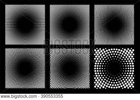 Abstract Dotted Circles Halftone Set. Collection Of Dot Spray Gradation White Round Shapes Isolated