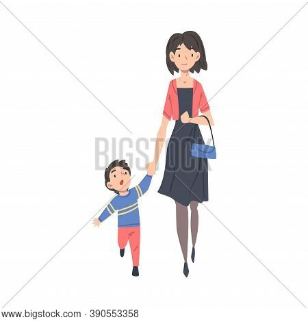 Mother Taking Her Son To The School Or Kindergarten In The Morning, Parent And Kid Walking Together