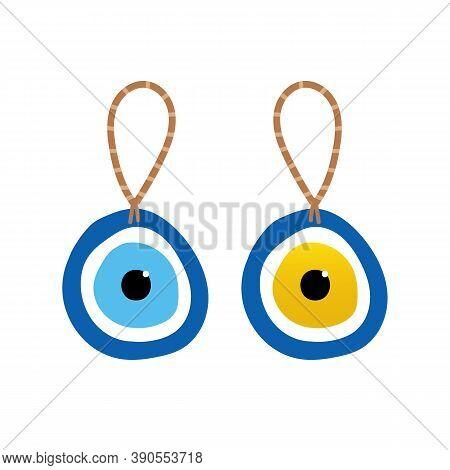Couple Of Nazar Amulets, Evil Eye Protection Talismans On Rope. Turkish Blue Eye-shaped Amulets.
