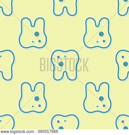 Green Tooth With Caries Icon Isolated Seamless Pattern On Yellow Background. Tooth Decay. Vector