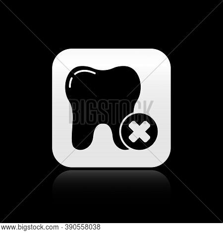 Black Tooth With Caries Icon Isolated On Black Background. Tooth Decay. Silver Square Button. Vector