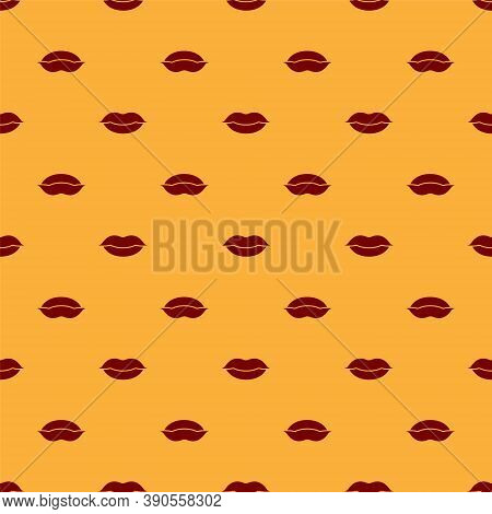 Red Smiling Lips Icon Isolated Seamless Pattern On Brown Background. Smile Symbol. Vector