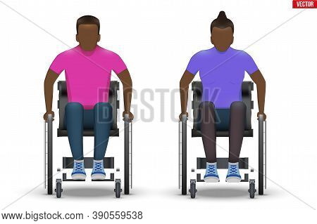 Disabled Black Man And Woman In Wheelchair. Set Of Disability People Sitting In Wheelchair And Hold