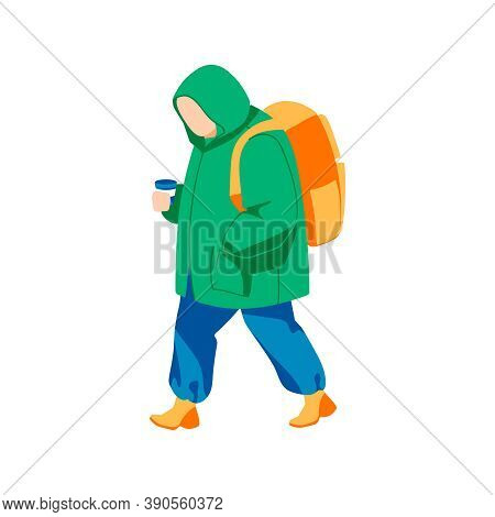 Teenager Walking With Backpack And Coffee Cup. Autumn Or Spring Season, Rainy Weather Concept. Teena