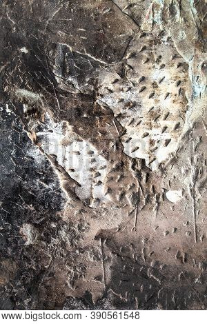 Harsh Style Texture. Destroyed Stucco On Concrete Wall As Abstract Textured Background. Destroyed Ba