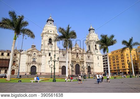 The Gorgeous Basilica Cathedral Of Lima On Plaza Mayor Square, Lima, Peru, South America, 19th May 2