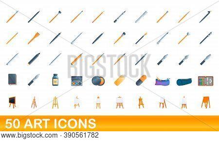 50 Art Icons Set. Cartoon Illustration Of 50 Art Icons Vector Set Isolated On White Background