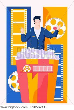A Man In A Business Suit With Glasses Getts Out Of A Large Bucket Of Popcorn On The Background Of A