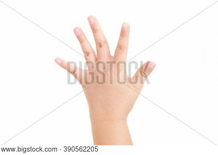 Boy's Hand Shown Five Finger Symbol On Isolated White Background For Graphic Designer.