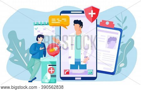 Online Consultation Of A Patient With A Doctor. The Therapist Prescribes Treatment For A Man Via The