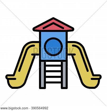 Kid Slide Playground Icon. Outline Kid Slide Playground Vector Icon For Web Design Isolated On White