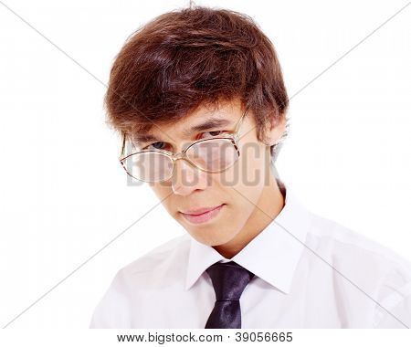 Serious nerd in horn-rimmed spectacles, white shirt and glasses. Isolated on white background, mask included
