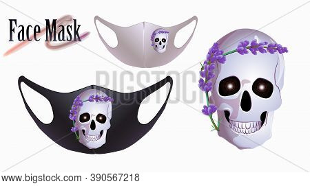 Vector Illustration Of A Pattern For A Facial Mask. Skull With Lavender Flower On Face Mask.