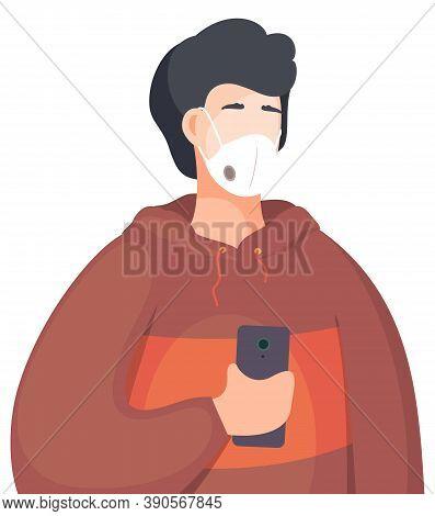 Young Man Wearing Face Medical Mask Standing And Take Smartphone. Viral Pandemic. Coronavirus 2019-n