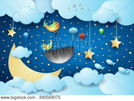 Surreal Cloudscape By Night With Moon, Flying Umbrella And Fishes. Vector Illustration Eps10