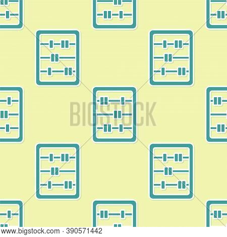 Green Abacus Icon Isolated Seamless Pattern On Yellow Background. Traditional Counting Frame. Educat
