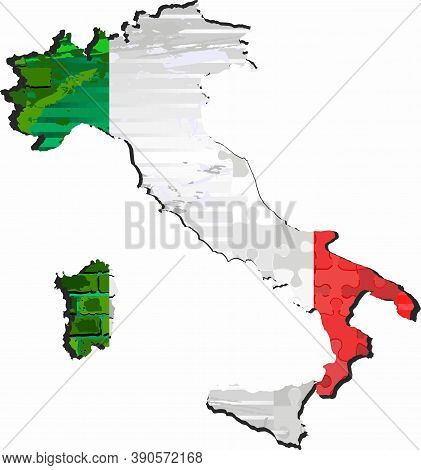 Grunge Abstract Map Of The Italy - Illustration,  Three Dimensional Map Of Italy