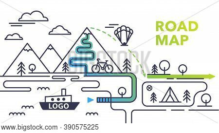 Travelers Road Map With Paraglider And Clouds. Infographic Route Concept. Road Map With Sea And Moun