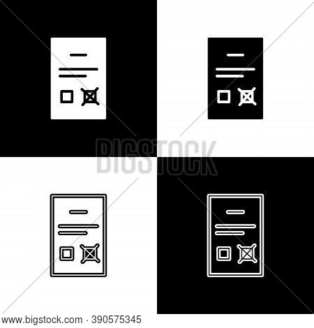 Set Poll Document Icon Isolated On Black And White Background. Vector