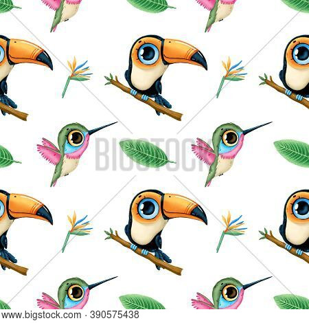 Cute Cartoon Tropical Animals Seamless Pattern. Toucan, Hummingbird And Tropical Leaves. Tropical Bi