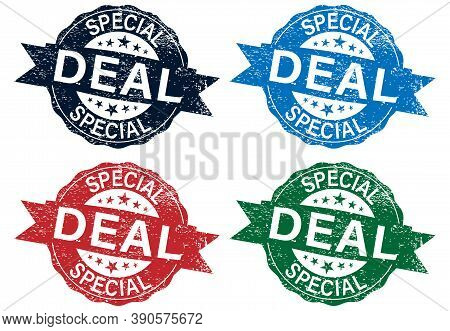 Stamps Set With Text Special Deals Inside, Vector Illustration