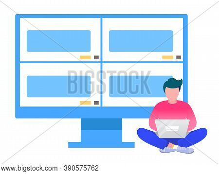 Video Conference And Online Communication Vector Concept. Man Communicates Remotely, Learning Or Mee