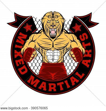 Lion Mascot For Mixed Martial Arts. Mma. Octagon. Champion Of Battle. Vector Color Illustrations For
