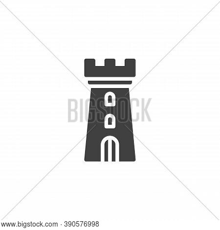 Castle Tower Vector Icon. Filled Flat Sign For Mobile Concept And Web Design. Fortress Tower Glyph I