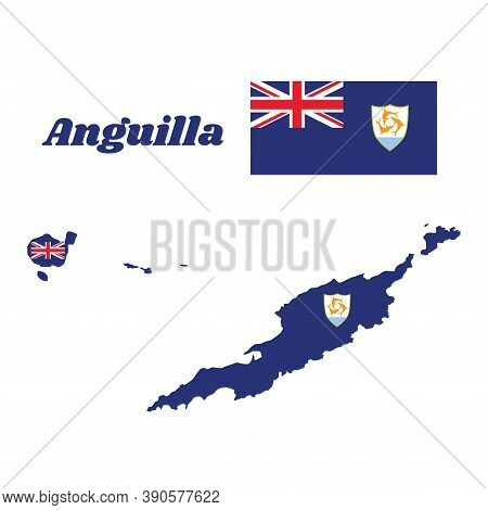 Map Outline And Flag Of Anguilla, Blue Ensign With The British Flag In The Canton, Charged With The