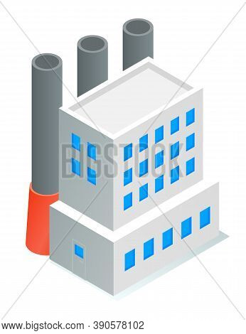 Isometric Image Of Oil Refinery Factory. Industrial Refinery. Petroleum Facility. White Tall Buildin