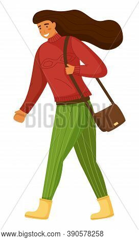 Walking Woman With Bag On Shoulder, Isolated Cartoon Character, Young Girl Wearing Warm Sweater And