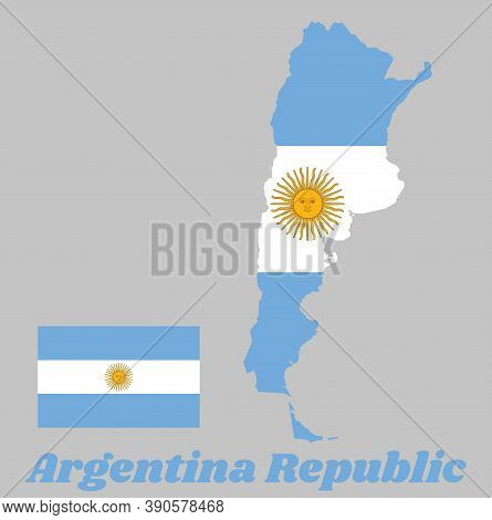 Map Outline Of Argentina, A Horizontal Triband Of Light Blue (top And Bottom) And White With The Sun