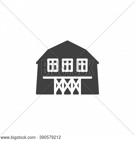 Barn House Vector Icon. Filled Flat Sign For Mobile Concept And Web Design. Farm Barn Glyph Icon. Sy