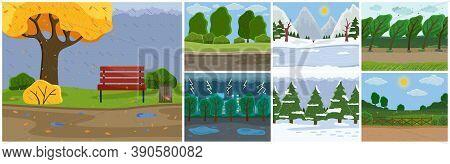 Set Of Seasons Images . Autumn Time, Rain, Slush, Puddles, Wet Bench In Park. Spring Or Summer Warm
