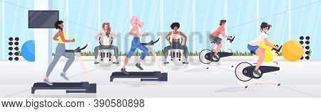 People Doing Physical Exercises On Training Apparatus Fitness Workout Healthy Lifestyle Concept Mode