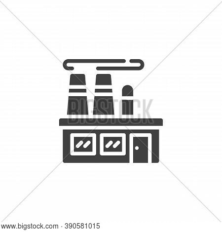 Factory Building Vector Icon. Filled Flat Sign For Mobile Concept And Web Design. Factory Office Gly