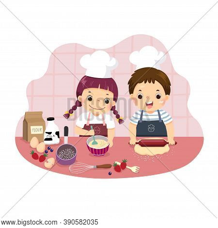 Vector Illustration Cartoon Of Siblings Baking Together At Kitchen Counter. Kids Doing Housework Cho