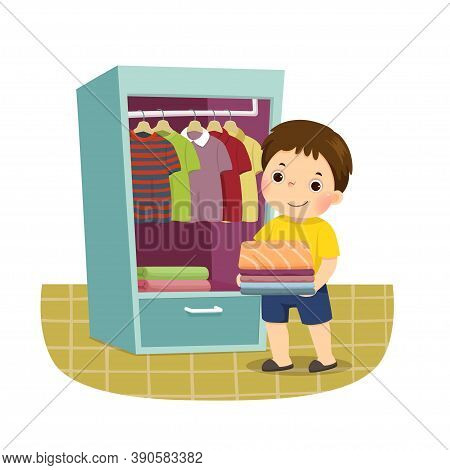 Vector Illustration Cartoon Of A Little Boy Putting Stack Of Folded Clothes In Closet. Kids Doing Ho