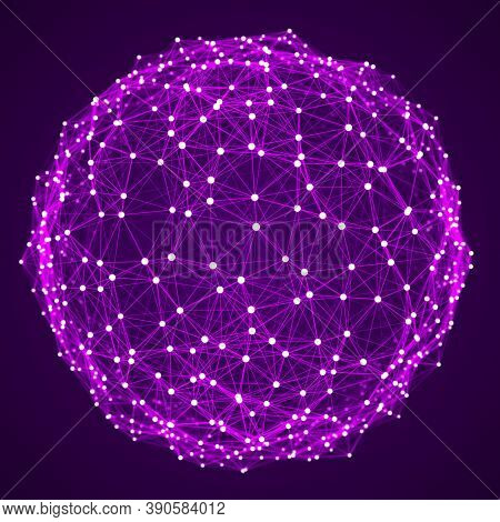 Abstract Sphere Of Multiple Points And Lines. Globe Or Ball. Digital Technology. Illustration In Spa