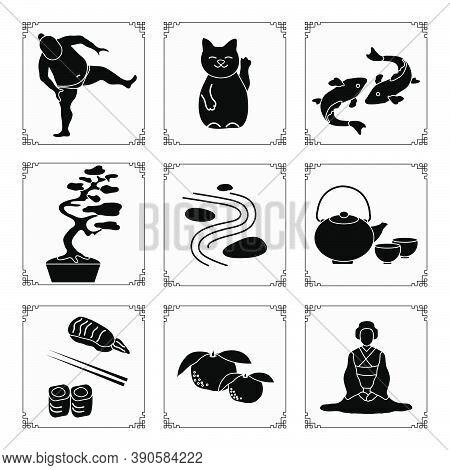 Symbols Of Japanese Culture Japanese Woman In Kimono, Tangerines, Rolls, Sushi, Chopsticks, Teapot,
