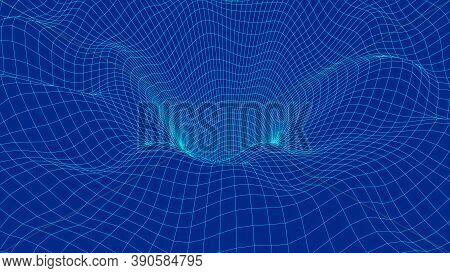 Curved Wireframe Abstract Tunnel. 3d Vector Wormhole With A Mesh Structure. Vortex. Vector Perspecti