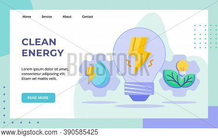 Clean Energy Lightning Bulb Lamp Drop Water Green Leaf Campaign For Web Website Home Homepage Landin