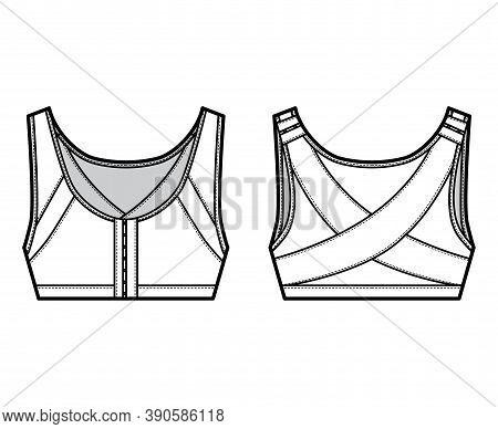 Bra Posture Lingerie Technical Fashion Illustration With Adjustable Shoulder Straps, Hook-and-eye Cl